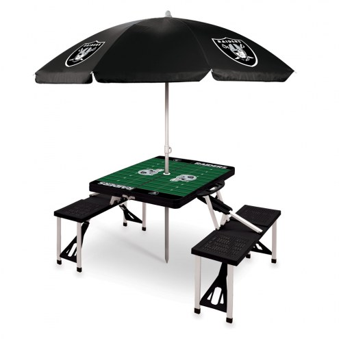 Oakland Raiders Black Picnic Table w/Umbrella