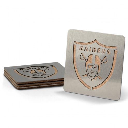 Oakland Raiders Boasters Stainless Steel Coasters - Set of 4
