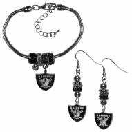 Las Vegas Raiders Euro Bead Earrings & Bracelet Set