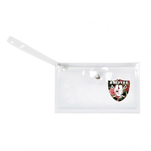 Oakland Raiders Floral Clear Ticket Wristlet