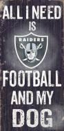 Las Vegas Raiders Football & Dog Wood Sign