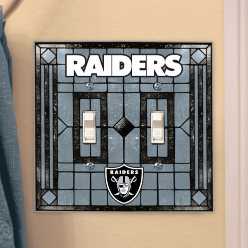Oakland Raiders Glass Double Switch Plate Cover