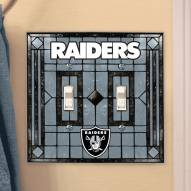 Las Vegas Raiders Glass Double Switch Plate Cover