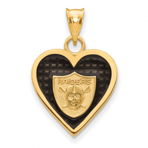 Las Vegas Raiders Gold Plated Enameled Heart Pendant