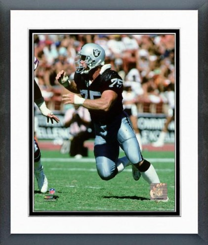 Oakland Raiders Howie Long 1990 Action Framed Photo