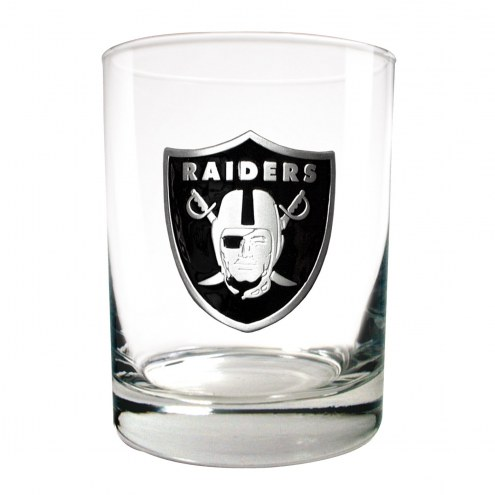 Oakland Raiders Logo Rocks Glass - Set of 2