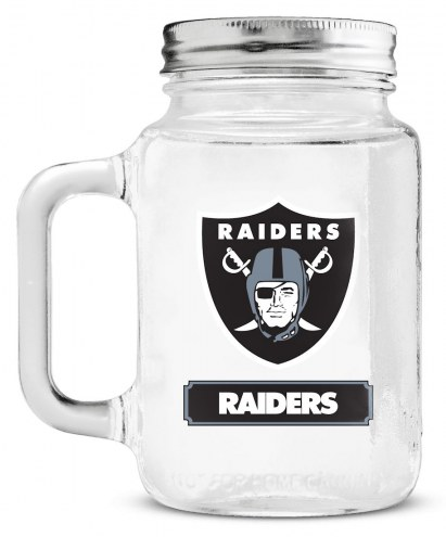 Oakland Raiders Mason Glass Jar