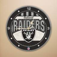 Oakland Raiders NFL Stained Glass Wall Clock