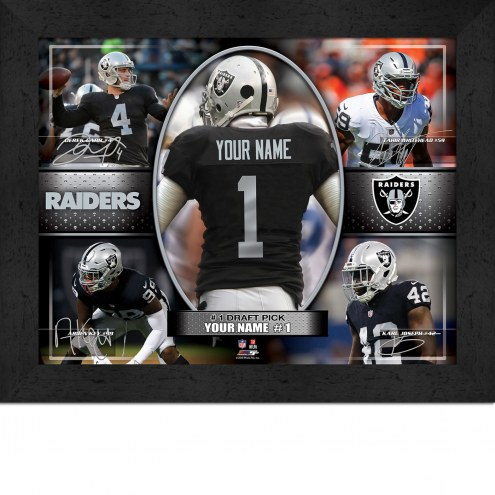 Oakland Raiders Personalized 11 x 14 Framed Action Collage