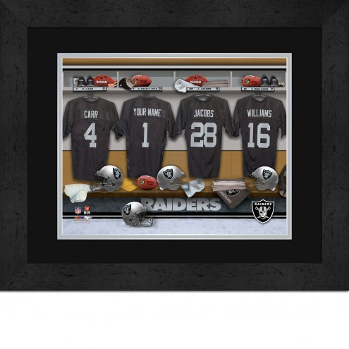 Oakland Raiders Personalized Locker Room 13 x 16 Framed Photograph