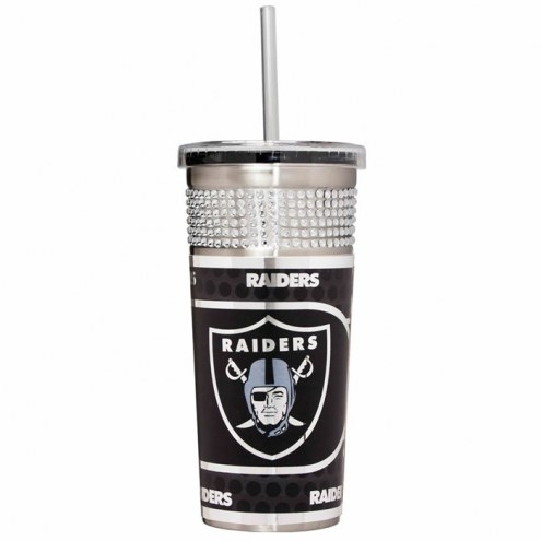 Oakland Raiders Silver Bling Tumbler with Straw