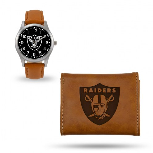 Las Vegas Raiders Sparo Brown Watch & Wallet Gift Set
