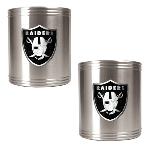 Oakland Raiders Stainless Steel Can Coozie Set