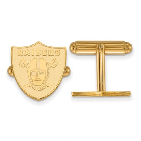 Oakland Raiders Sterling Silver Gold Plated Cuff Links