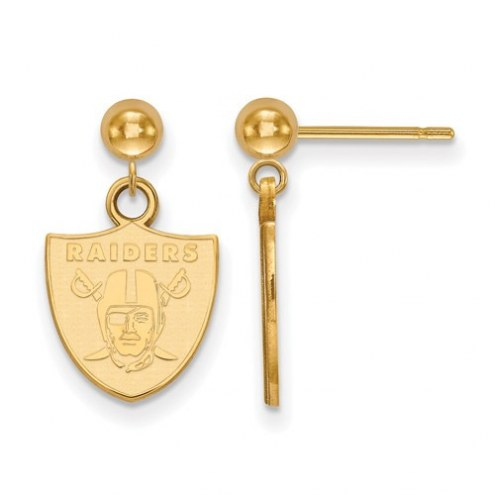 Oakland Raiders Sterling Silver Gold Plated Dangle Ball Earrings