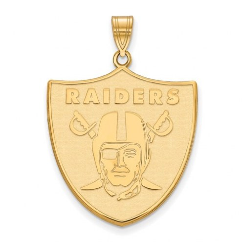 Oakland Raiders Sterling Silver Gold Plated Extra Large Pendant