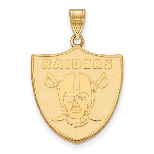 Oakland Raiders Sterling Silver Gold Plated Large Pendant