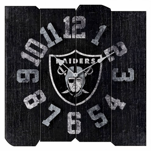 Oakland Raiders Vintage Square Clock