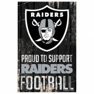 Las Vegas Raiders Proud to Support Wood Sign