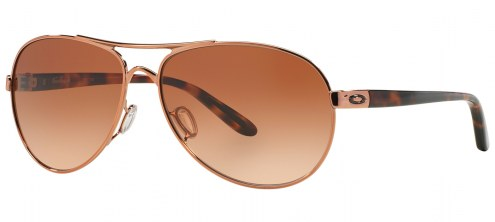 Oakley Feedback Sunglasses - Rose Gold / VR50 Brown Gradient