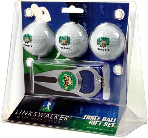 Ohio Bobcats Golf Ball Gift Pack with Hat Trick Divot Tool