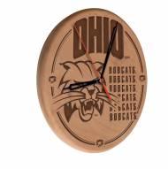 Ohio Bobcats Laser Engraved Wood Clock
