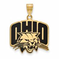 Ohio Bobcats NCAA Sterling Silver Gold Plated Large Enameled Pendant