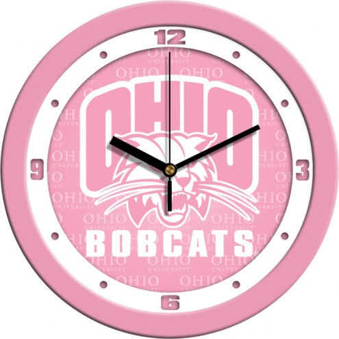 Ohio Bobcats Pink Wall Clock