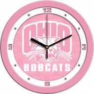 Ohio Bobcats Pink Wall Clock