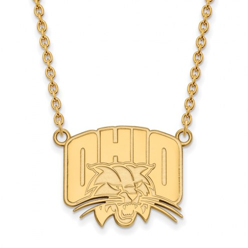 Ohio Bobcats Sterling Silver Gold Plated Large Pendant Necklace