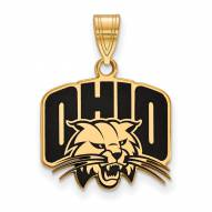 Ohio Bobcats Sterling Silver Gold Plated Medium Enameled Pendant