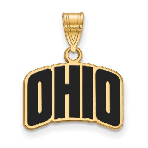Ohio Bobcats Sterling Silver Gold Plated Small Enameled Pendant