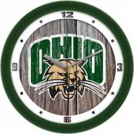 Ohio Bobcats Weathered Wood Wall Clock