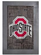 """Ohio State Buckeyes 11"""" x 19"""" City Map Framed Sign"""