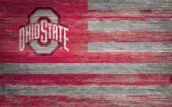 """Ohio State Buckeyes 11"""" x 19"""" Distressed Flag Sign"""