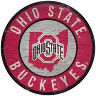 """Ohio State Buckeyes 12"""" Circle with State Sign"""