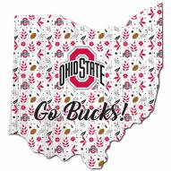 """Ohio State Buckeyes 12"""" Floral State Sign"""