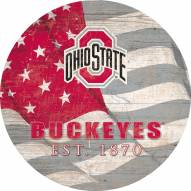 """Ohio State Buckeyes 12"""" Team Color Flag Circle Sign"""