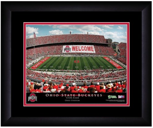 Ohio State Buckeyes 13 x 16 Personalized Framed Stadium Print