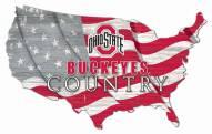 "Ohio State Buckeyes 15"" USA Flag Cutout Sign"