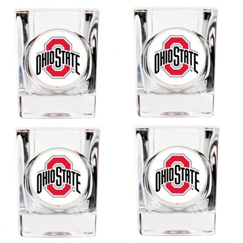 Ohio State Buckeyes 4 Piece Square Shot Glasses