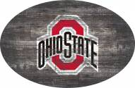 """Ohio State Buckeyes 46"""" Distressed Wood Oval Sign"""