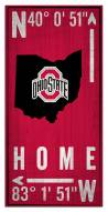 "Ohio State Buckeyes 6"" x 12"" Coordinates Sign"