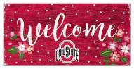 """Ohio State Buckeyes 6"""" x 12"""" Floral Welcome Sign"""