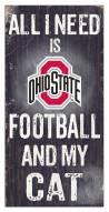 "Ohio State Buckeyes 6"" x 12"" Football & My Cat Sign"