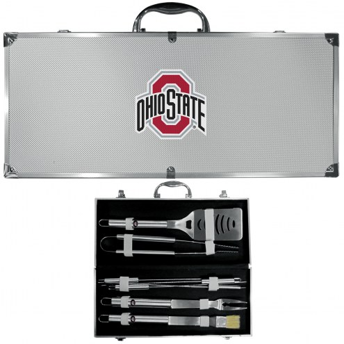 Ohio State Buckeyes 8 Piece Stainless Steel BBQ Set w/Metal Case