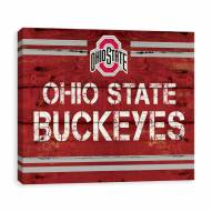 Ohio State Buckeyes Rustic Banner Large Logo Printed Canvas