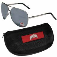 Ohio State Buckeyes Aviator Sunglasses and Zippered Carrying Case