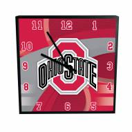 Ohio State Buckeyes Carbon Fiber Square Clock
