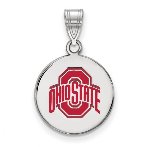 Ohio State Buckeyes Sterling Silver Medium Enameled Disc Pendant